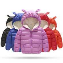 купить Children Jacket Winter Outerwear Boy and Girl Autumn Warm Down Hooded Coat Small Kids Parka Winter Jacket Size 1-5 Years дешево