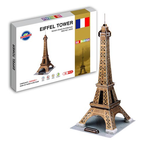 Cartoon 3D DIY Eiffel tower Puzzle Castle Model Toys For Kids Intelligence Early Educational Construction Pattern Gift
