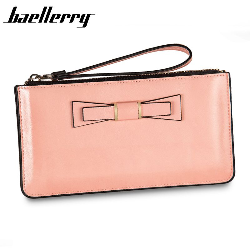 Baellerry Fashion Women Oil surface Bow Wallets Solid Bow tie Paint Wallet Female Clutch Double Zipper Purse For Women Purse sweet women s wallet with bow and solid colour design