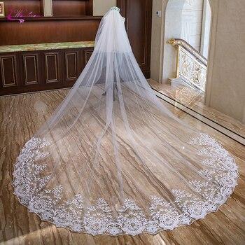 Waulizane Elegant Long Bridal Veil With Wedding Comb And Symmetrical Lace Edge