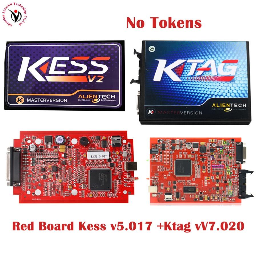 DHL 2018 New red PCB board KESS V2 V5 017 OBD2 Manager KTAG V7 020 Ktag