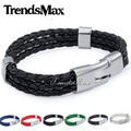 Trendsmax Bulk Sale 8inch 12mm Fashion MENS Womens Leather Bracelet Jewelry 6 Colors Rope Surfer Wrap Wristband Promotion LBM40