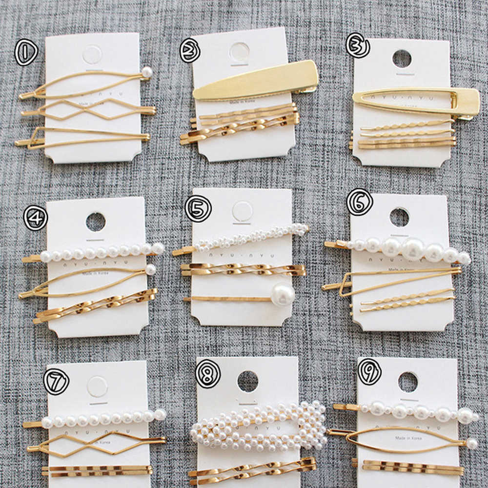 3Pcs/Set Pearl Metal Hair Clips Hairband Comb Bobby Pin Barrette Hairpin Headdress Accessories Hair Styling New Fashion