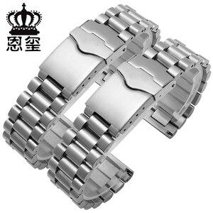 Image 1 - Браслет из нержавеющей стали для часов, спортивный сменный металлический ремешок с плоской застежкой, двойная кнопка, 20 мм