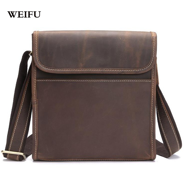 ФОТО Men Single shoulder bag men's bags Crazy horse leather Crossbody Bags Leather handbag