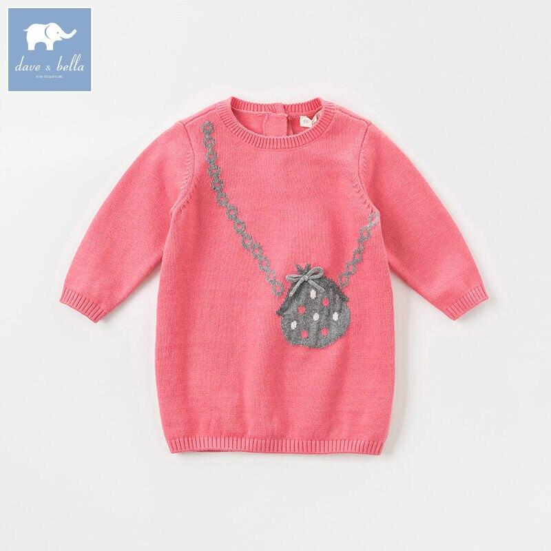 DB8499 dave bella baby autumn Knitted Dress girls long sleeve dress children birthday costumes infant toddler