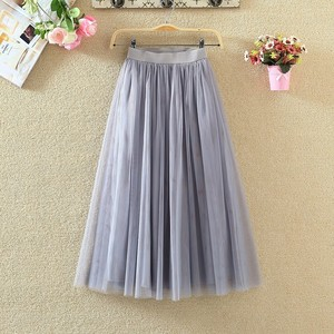 Image 2 - Womens Skirts 2020 New Summer Vintage Elastic High Waist Tulle Mesh Skirt Long Pleated Tutu Skirt Women Saias Midi Faldas Jupe
