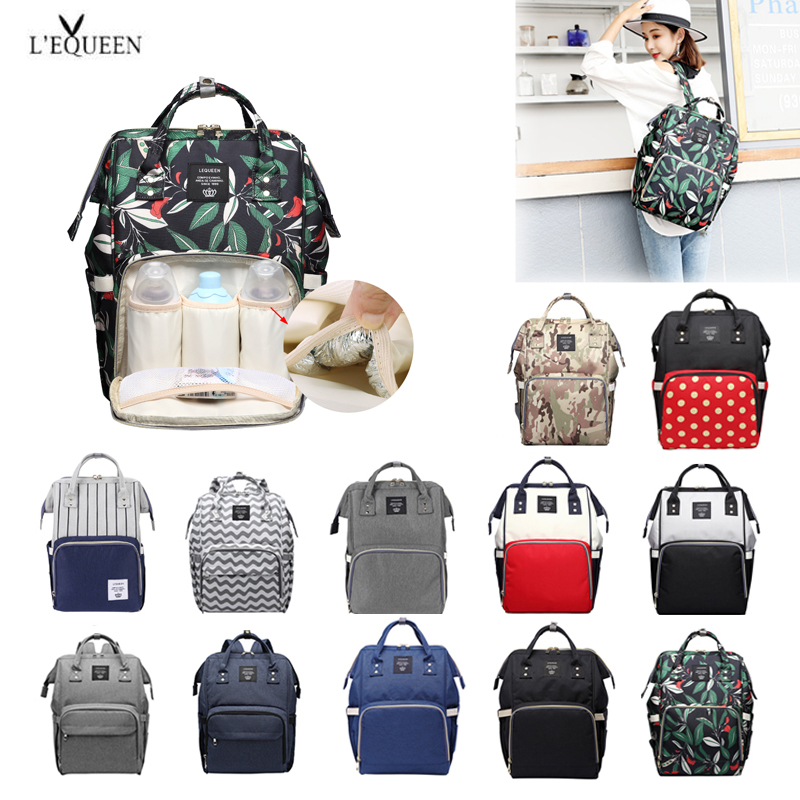 100% Original LEQUEEN Fashion Mummy Maternity Diaper Bag Large Capacity Nappy Bag Travel Backpack Nursing Bag For Baby Care