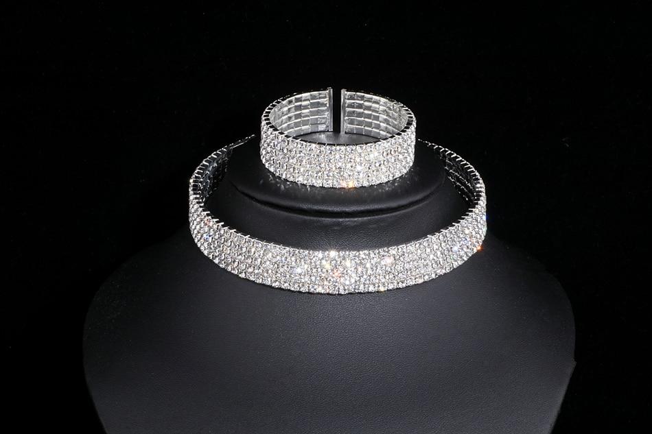 IMG_4786 - Classique, élégant Gland Cristal, Collier De Mariage, Boucles D'oreilles,