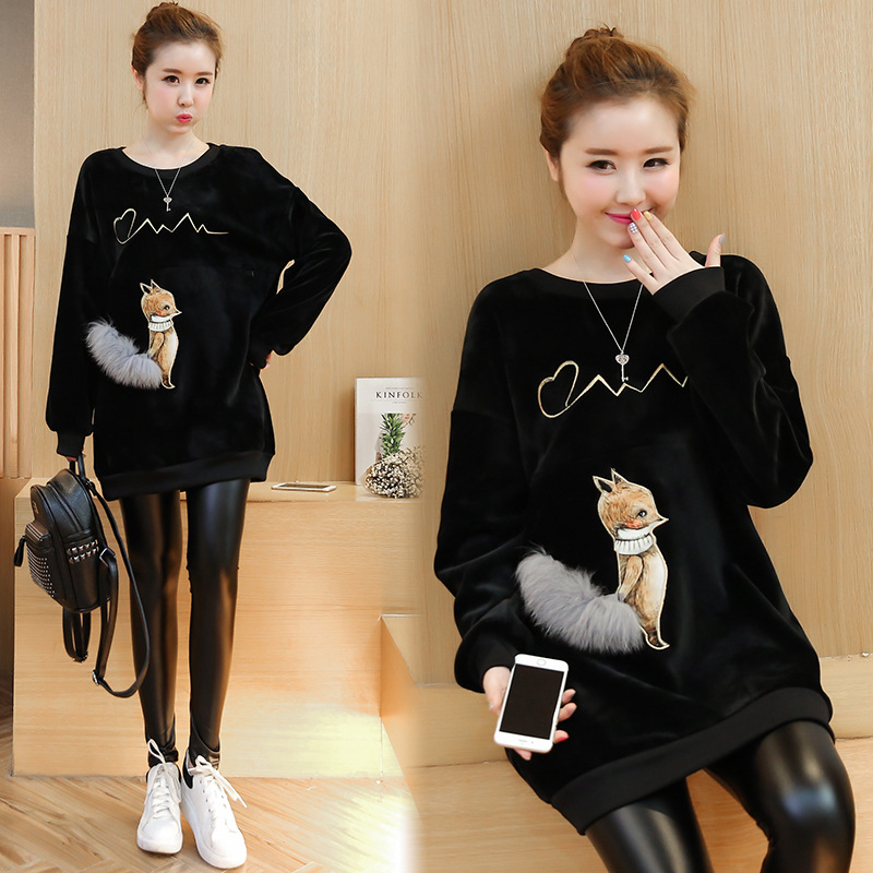 Autumn And Winter Hot Mom Breastfeeding Clothes Out Of The Postpartum Gold Velvet Warm Feeding Clothes Plus Velvet Thick Dress