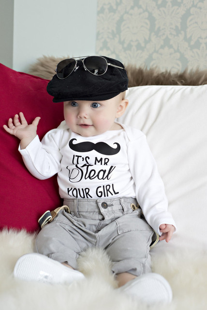 7c3064484286 Letter It s mr steal your girl baby Long Sleeve Romper infant baby boys  girls clothing newborn