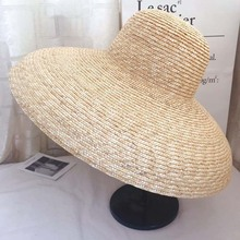 2019 Elegant women straw hat Bell type 15cm Big wide brim sun casual natural wheat Summer Beach shade