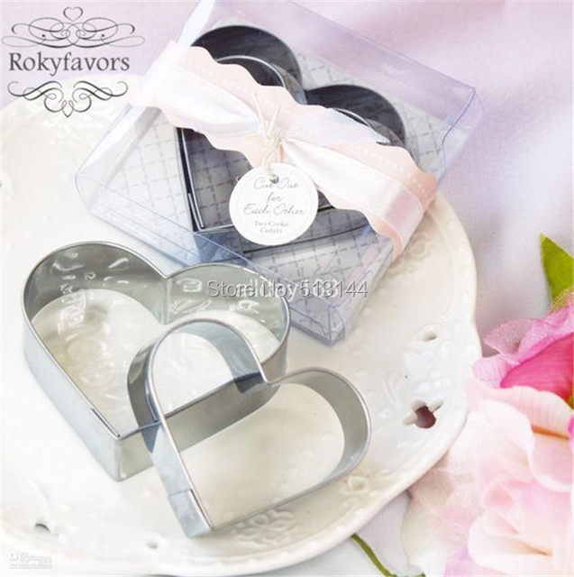 free shipping 100sets heart shaped metal cookie cutter favors wedding party giveaways birthday gifts ideas bridal