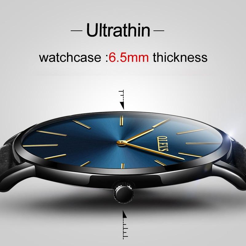 Olevs Quartz Leather Minimalist Black Strap Ultrathin Wristwatches Waterproof Relogio