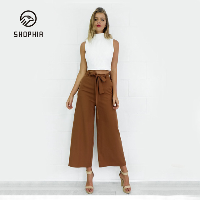 Color sólido Ocasional Pierna Ancha Pant Mujer Plus Tamaño