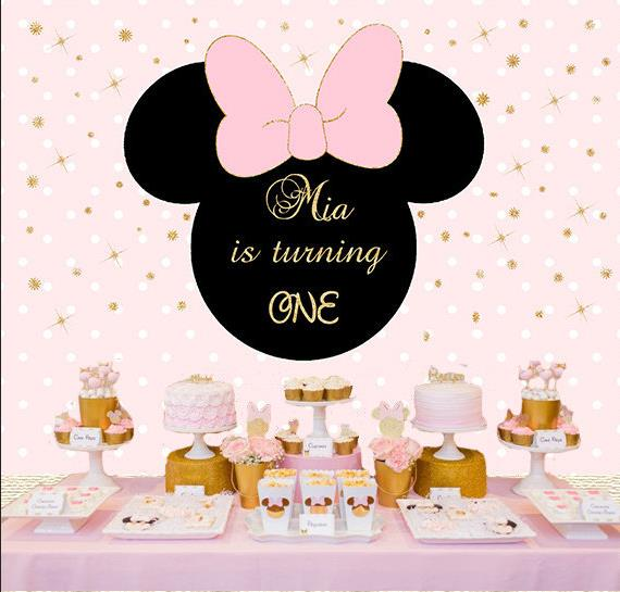 Custom Minnie Mouse Royal Pink Gold Crown Background polyester or Vinyl cloth High quality Computer print birthday backdrop цена и фото