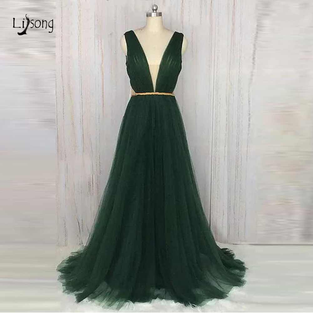 d6f77afe2e0 Real Imge Emerald Green Tutlle Evening Dresses Sexy Prom Gowns Deep V-neck  See Throu