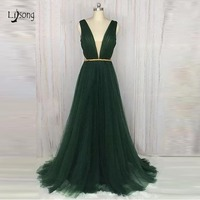 Real Imge Emerald Green Tutlle Evening Dresses Sexy Prom Gowns Deep V neck See Throu Back A line Formal Dress Abendkleider 2019