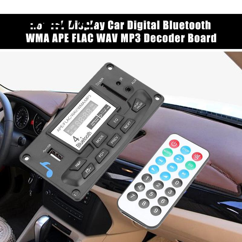 VEHEMO DC9V-12V 1.6 Inches Car Digital Bluetooth 4.0 MP3 Sound Spectrum Player Decoder Board Audio Receiver WMA APE FLAC WAV