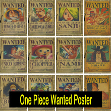 One Piece wanted posters Vintage Retro Matte Kraft Paper Antique Poster Wall Sticker Home Decora 42X30cm