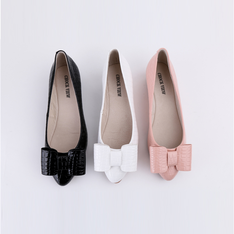 0f11445210 2016 new bowtie casual shoe patent leather flat women summer office flat  shoes pink white black Women's shoes