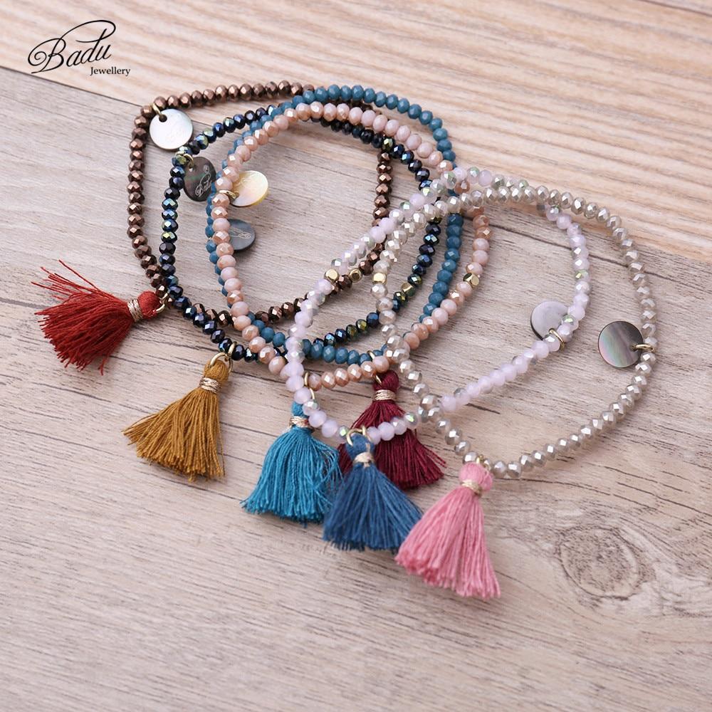 Badu pulseras de las mujeres 2017 de la manera de la borla de la amistad pulseras de las muchachas perlas de cristal bohemio verano joyería encantadora diario encantador