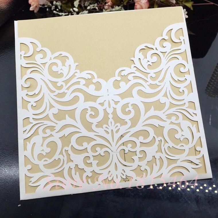 Φ Φ50pcs laser cut weeding cards paper invitation cards party
