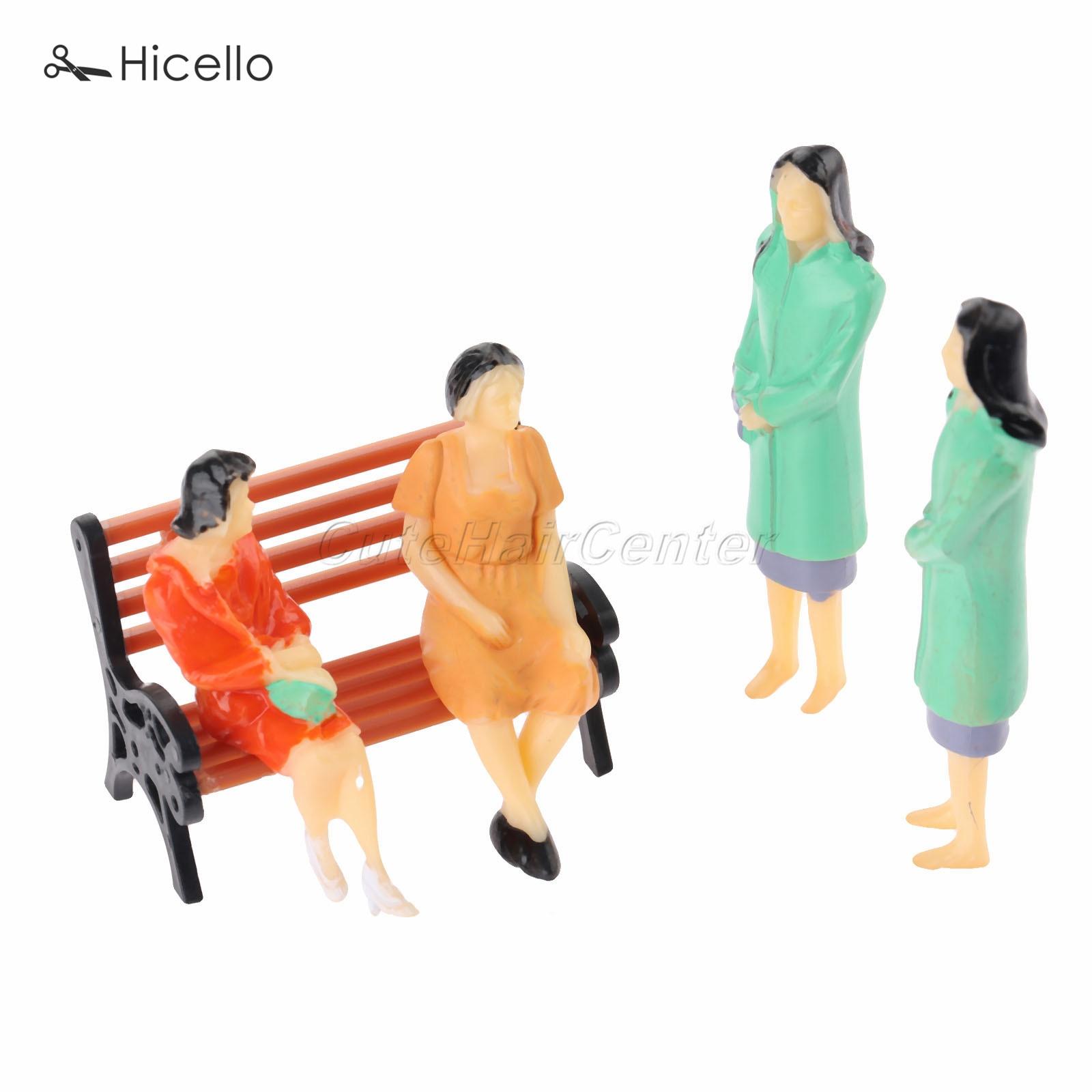 10pcs 1:30 multicolor Model People 65mm+ 5pcs Model park bench model 42mm plastic human chair figures scenery simulation