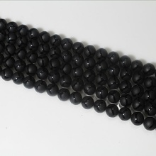 6 8 10 12mm Natural Round Striped Black Agate Matte Frosted Onyx Gemstone Loose Beads For Necklace Bracelet DIY Jewelry Making