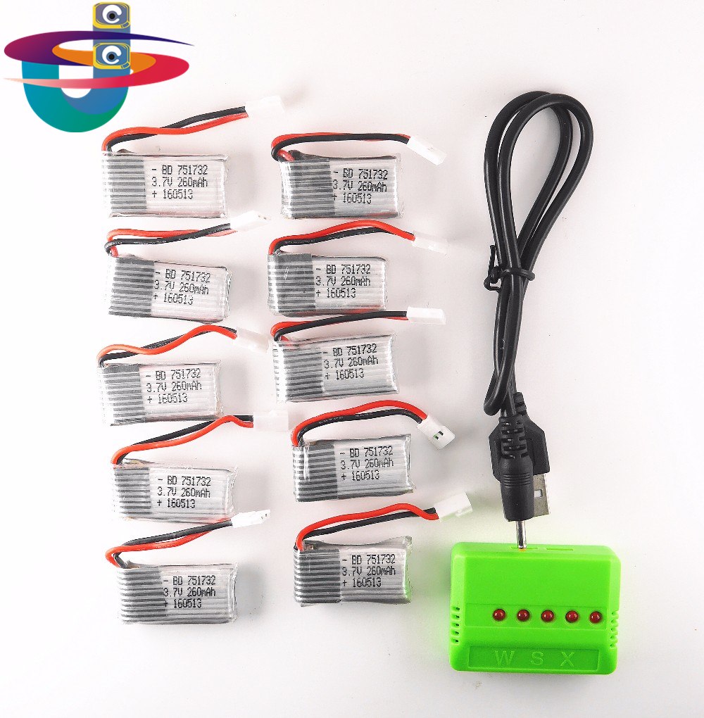 10 pcs 3.7 V 260 mAh Lipo Batterie avec X5 5in1 vert Chargeur pour Eachine H8 JJRC H8 Mini RC Quadcopter drone pièces H48