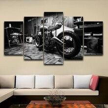 Гостиная HD Печатный модульный Холст Плакаты 5 панелей Винтаж мотоцикл рамки стены Искусство Живопись украшение дома картины