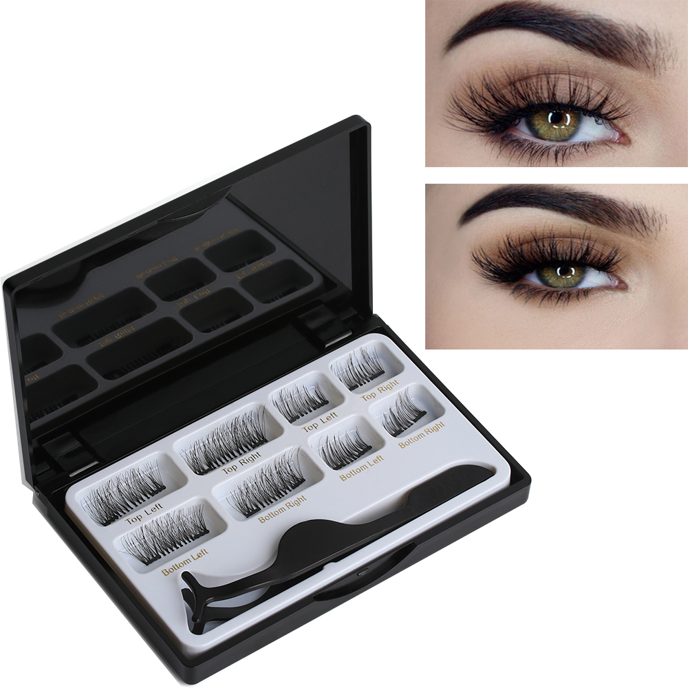 8 Pcs Lashes & 1 Tweezer Mixed Styles Dual Magnetic False Eyelashes Thick Long Natural Makeup Extension Tool Black Lash
