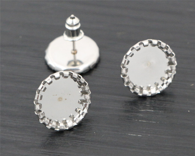 (Never Fade) 20pcs 10mm Stainless Steel Earring Base Studs Ear Cameo Settings Cabochon Base Tray Blank (With Back)-T6-09 never fade 10pcs fit 30mm cabochons stainless steel tooth cameo setting cabochon base copper high quality blank tray bezel t7 36