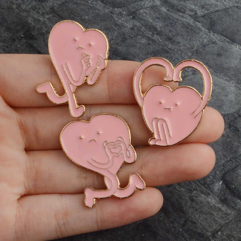 3 Gaya Sinyal Cinta Hati Merah Muda Enamel Bros Pin Denim Pakaian Tas Gesper Lencana Lucu Kartun Perhiasan Hadiah untuk kekasih