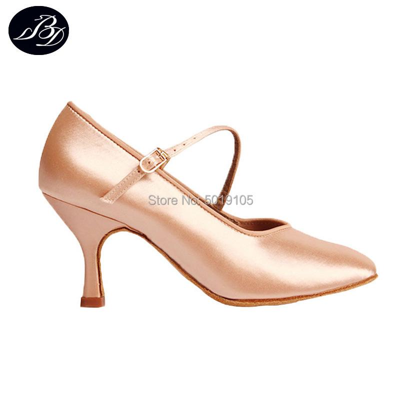 Women Pro Standard Dance Shoes BD 138 ClASSIC Fresh Tan Satin High Low Heel Ladies Ballroom Dance Modern Shoes Soft Outsole