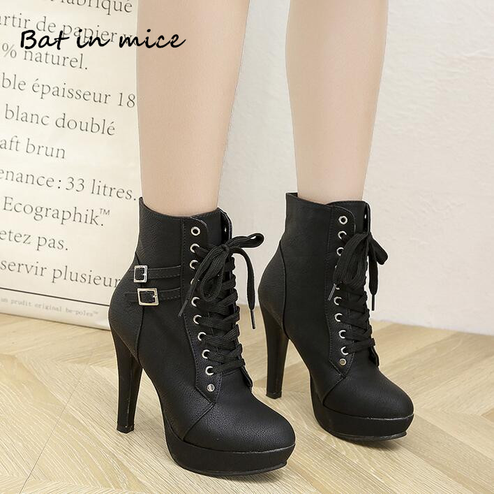 women Motorcycle ankle boots shoes Winter PU Leather Round Toe Lace-Up high heels pumps Snow boots shoes plus size 35-43 W249 стоимость