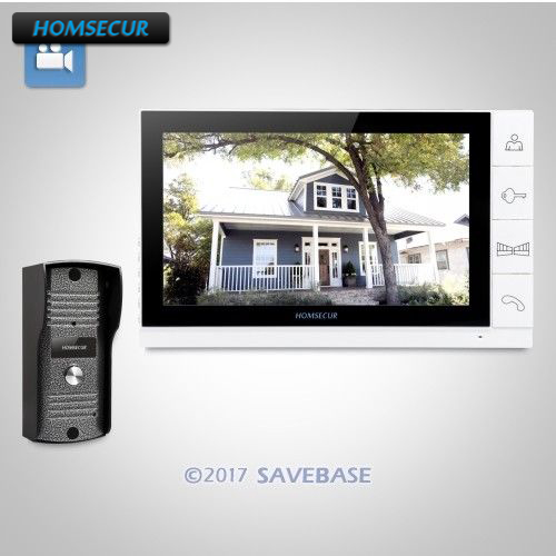 """HOMSECUR 9"""" Wired Video Door Entry Phone Call System with White Monitor Shipping from RU warehouse"""