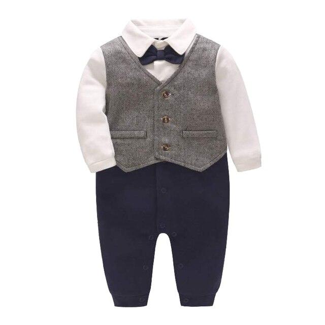 671612ee2 Newborn Baby Boy Onesie Rompers Suits Gentleman Formal Outfits With Bowtie