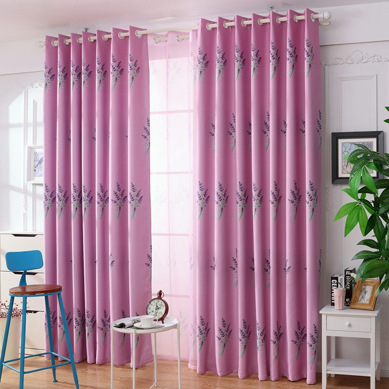 Hot Sale Kitchen Bedroom Curtains Pastoral Style Sunshade Curtains Lavender  Printed Window Valance Rustic Home Decor