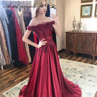 Angel married fashion Evening Dresses boat neck appliques lace prom gowns women pageant dress formal party dress vestidos