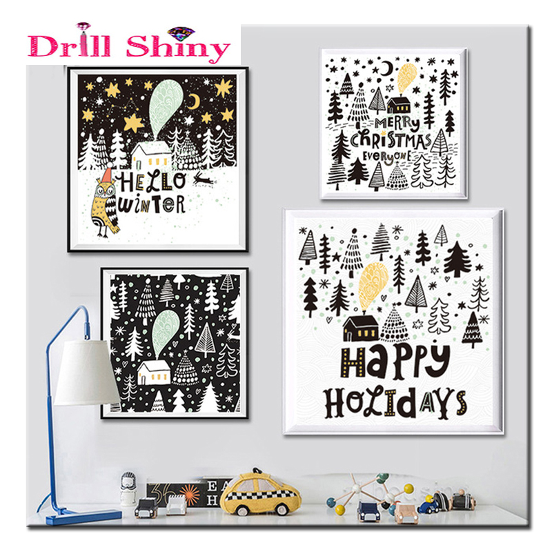 DIY Diamond Embroidery Cartoon font b Animal b font Owl Tree snow 5D Diamond Painting Cross