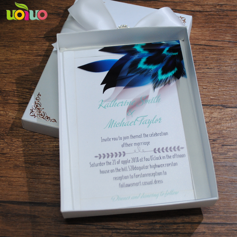 elegant hot sell peacock wedding invitation card fancy lace acrylic cards english letter free printing