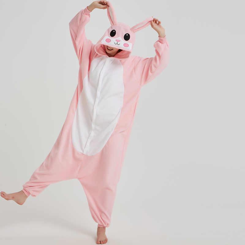 ... Розовая пижама с кроликами животных комбинезон для взрослых Для женщин  Для мужчин комбинезоны Зимние флисовые пижамы a041de36a8525