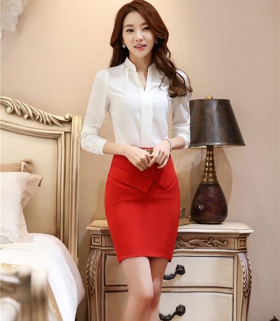 Nova Moda Ternos de Saia Trabalho Com Tops E Saia Styles Uniformes Ladies Escritório Escritório de Negócios Primavera Outono Camisas Blusa Conjuntos