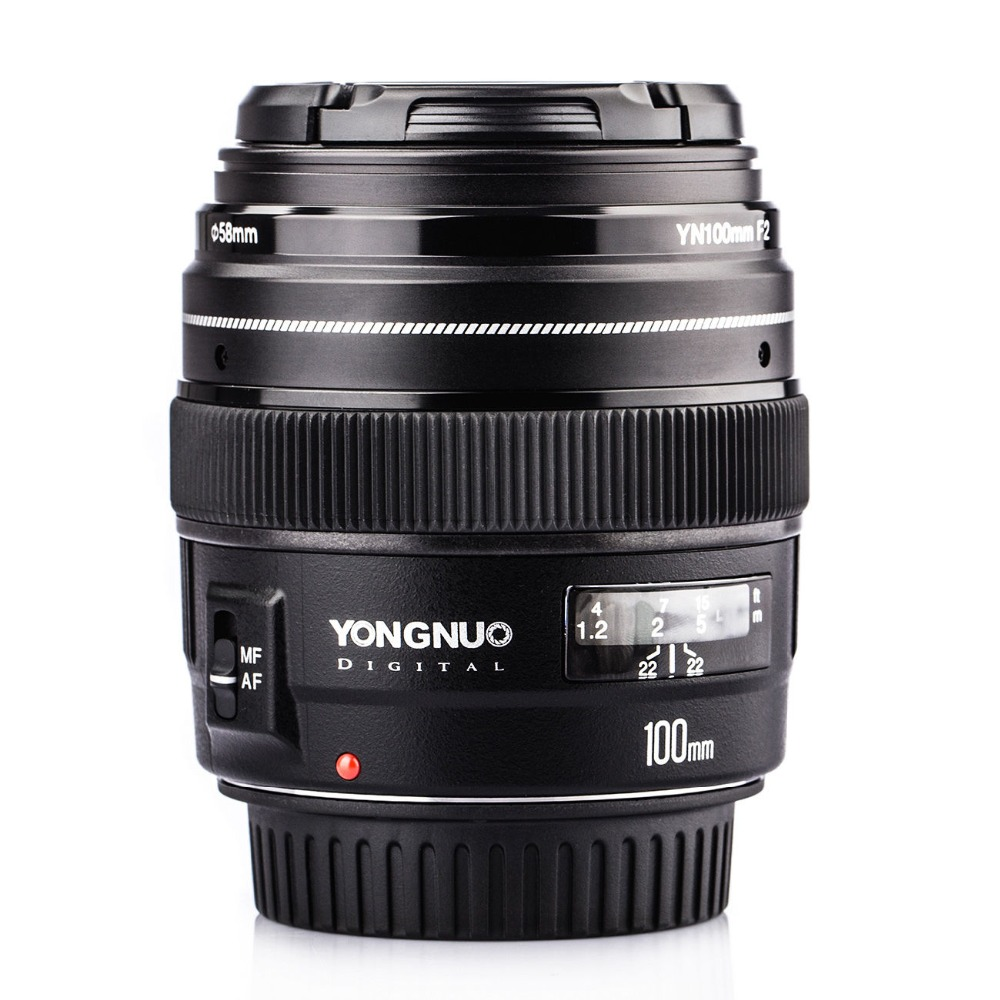 YONGNUO YN100mm F/2-F/22 AF/MF 100mm Medium Telephoto Lens Large Aperture Auto Focus Lens Prime Lens For Canon EOS Rebel Camera