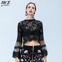 ME Plus Size Women Spring Blouse 5XL Black Lace Oversize Long Sleeve O Neck See Through