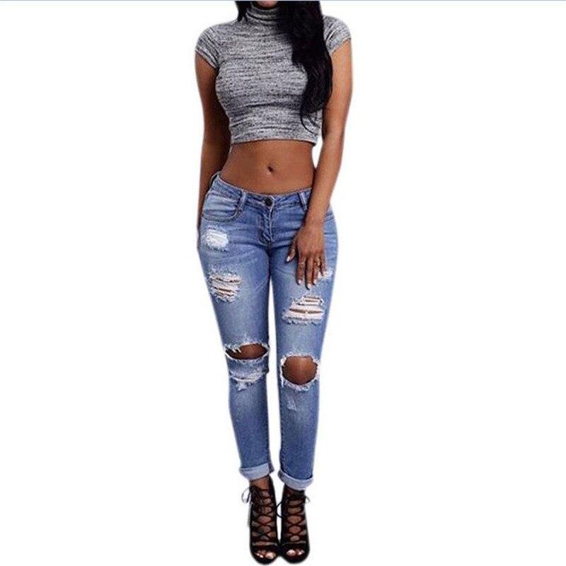 Women Sexy Destroyed Ripped Distressed Slim Denim Pants Boyfriend Jeans Trousers Zipper Button Pocket High Waist
