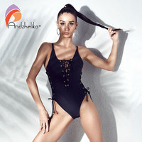 Andzhelika Bikini Women One Piece Sexy Bandage Swimsuit Halter Swimwear Brazilian Vintage Bodysuit Bathing Suit Swim