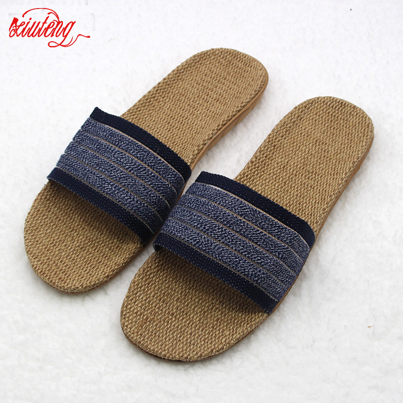Xiuteng 2017 New Hot Flax Men Summer Famous Brand Casual Men Sandals Home Slippers Shoes Men Beach Flip Flops Slides large Size
