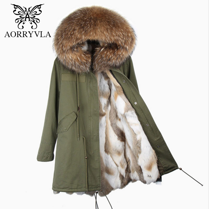 AORRYVLA 2018 New Winter Women's Real Rabbit Fur   Parkas   Large Raccoon Fur Collar Hooded With Rabbit Fur Lining Long Coat